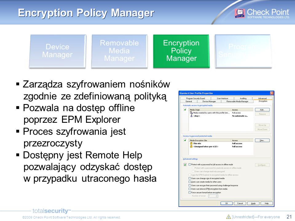 21 [Unrestricted]For everyone ©2009 Check Point Software Technologies Ltd. All rights reserved. Encryption Policy Manager Zarządza szyfrowaniem nośnik