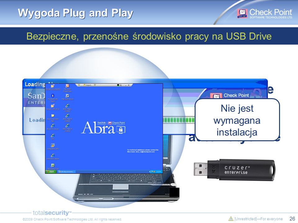 26 [Unrestricted]For everyone ©2009 Check Point Software Technologies Ltd. All rights reserved. Abra Secure Workspace uruchamia się automatycznie Bezp