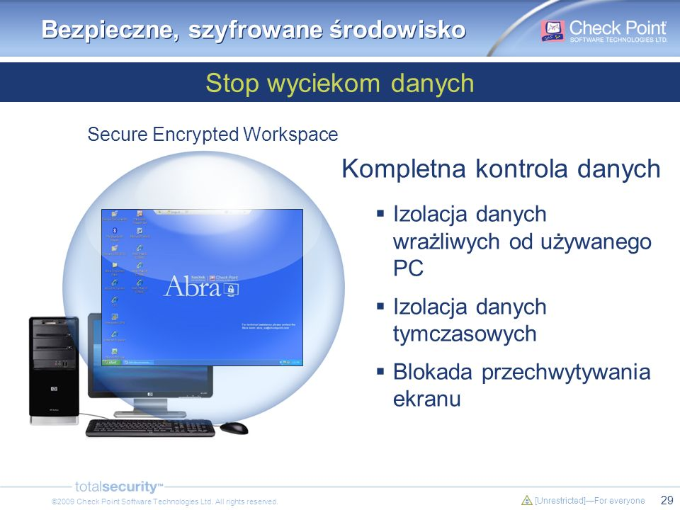 29 [Unrestricted]For everyone ©2009 Check Point Software Technologies Ltd. All rights reserved. Stop wyciekom danych Bezpieczne, szyfrowane środowisko