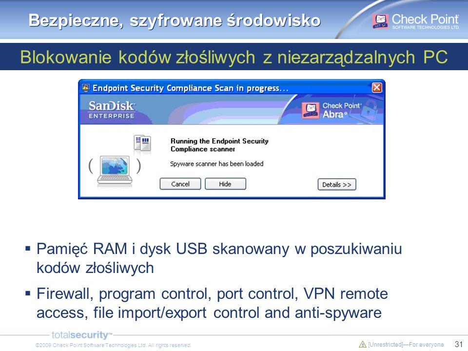 31 [Unrestricted]For everyone ©2009 Check Point Software Technologies Ltd. All rights reserved. Blokowanie kodów złośliwych z niezarządzalnych PC Bezp