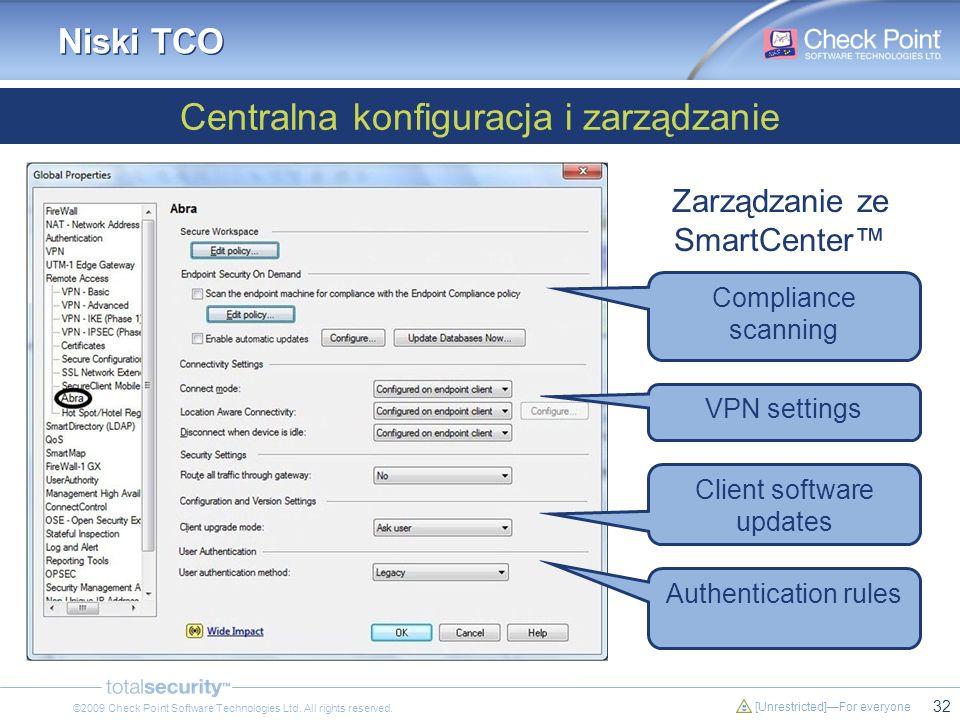 32 [Unrestricted]For everyone ©2009 Check Point Software Technologies Ltd. All rights reserved. Niski TCO Centralna konfiguracja i zarządzanie Zarządz