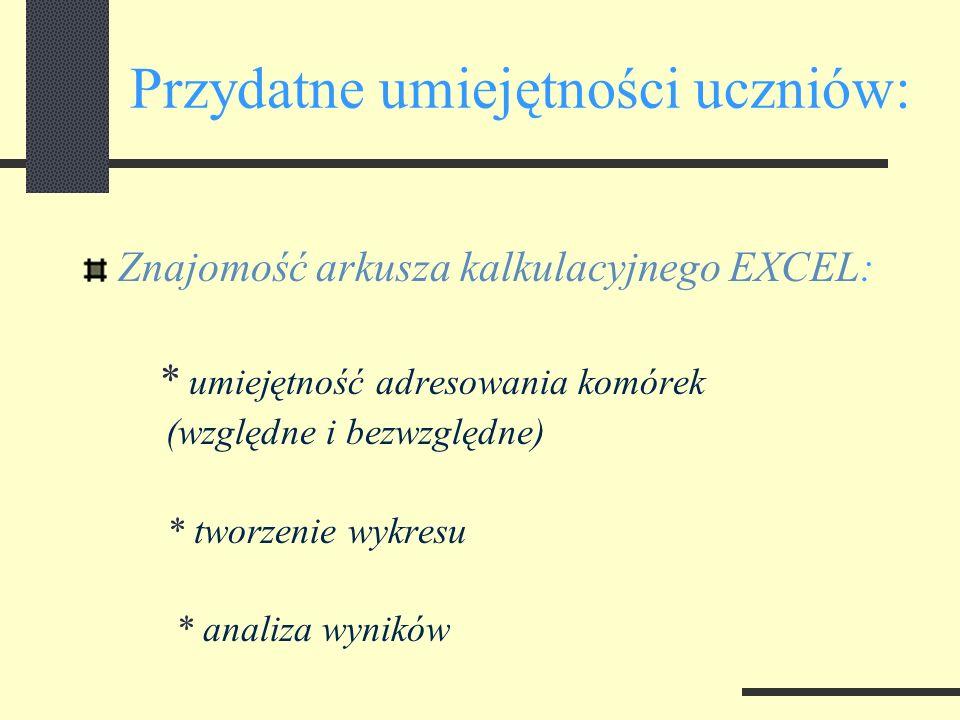 Przydatne umiejętności uczniów: Znajomość arkusza kalkulacyjnego EXCEL: * umiejętność adresowania komórek (względne i bezwzględne) * tworzenie wykresu * analiza wyników