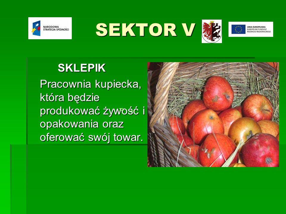 SEKTOR V SKLEPIK Pracownia kupiecka, która będzie produkować żywość i opakowania oraz oferować swój towar.