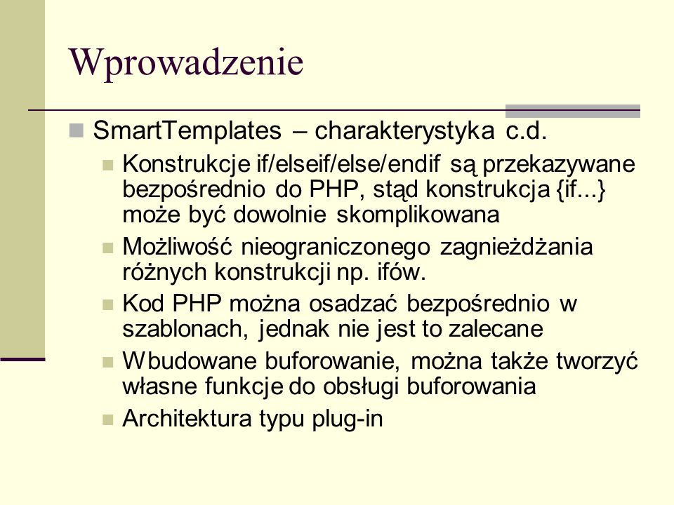 Pliki konfiguracyjne Przykład # global variables pageTitle = Main Menu bodyBgColor = #000000 tableBgColor = #000000 rowBgColor = #00ff00 [Customer] pageTitle = Customer Info [Login] pageTitle = Login focus = username Intro = This is a value that spans more than one line.