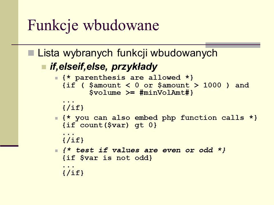 Funkcje wbudowane Lista wybranych funkcji wbudowanych if,elseif,else, przykłady {* parenthesis are allowed *} {if ( $amount 1000 ) and $volume >= #minVolAmt#}...