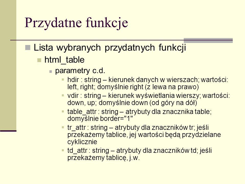 Przydatne funkcje Lista wybranych przydatnych funkcji html_table parametry c.d.