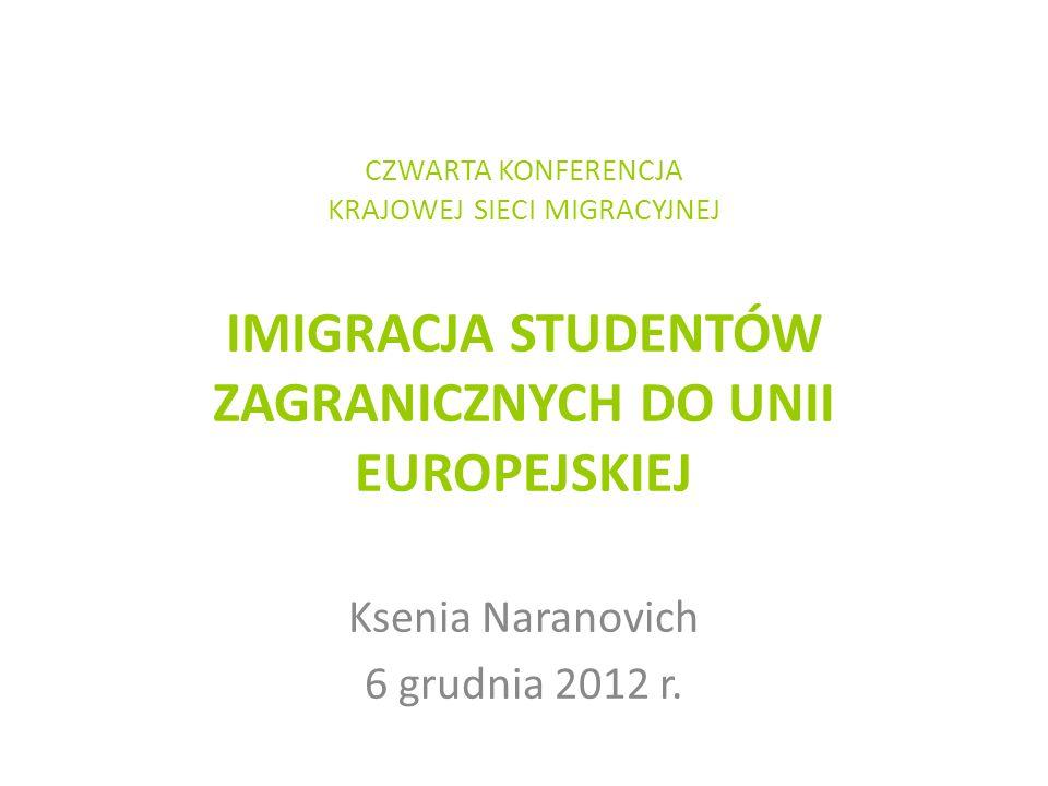 CZWARTA KONFERENCJA KRAJOWEJ SIECI MIGRACYJNEJ IMIGRACJA STUDENTÓW ZAGRANICZNYCH DO UNII EUROPEJSKIEJ Ksenia Naranovich 6 grudnia 2012 r.