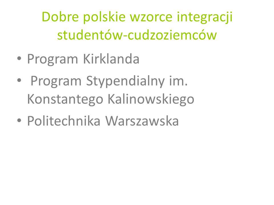 Dobre polskie wzorce integracji studentów-cudzoziemców Program Kirklanda Program Stypendialny im. Konstantego Kalinowskiego Politechnika Warszawska