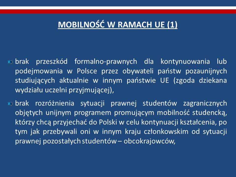 MOBILNOŚĆ W RAMACH UE (1) brak przeszkód formalno-prawnych dla kontynuowania lub podejmowania w Polsce przez obywateli państw pozaunijnych studiującyc
