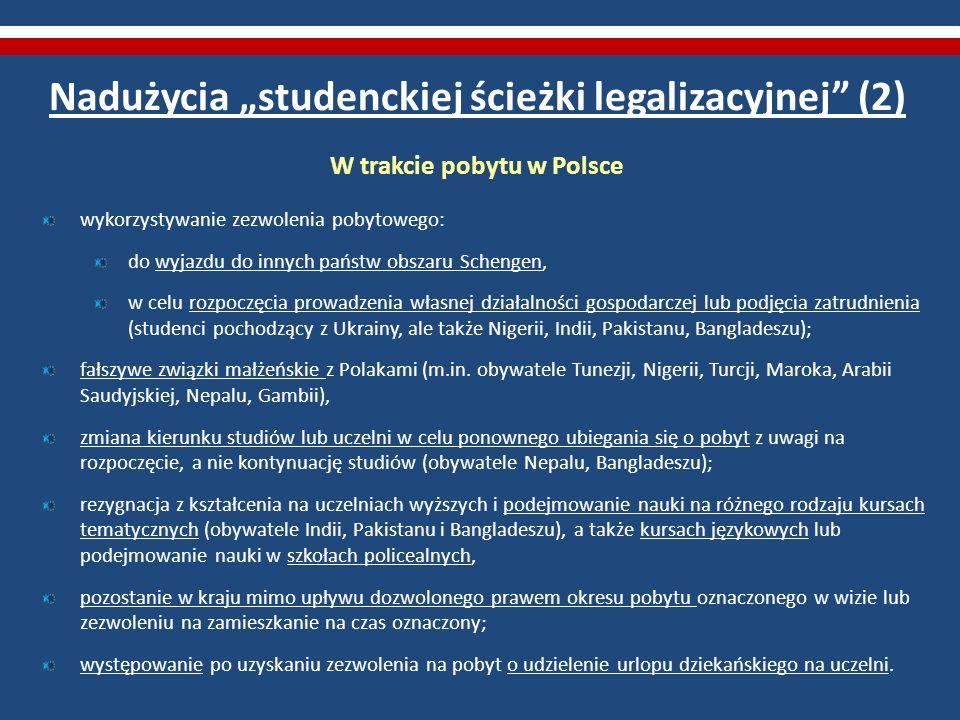 Nadużycia studenckiej ścieżki legalizacyjnej (2) W trakcie pobytu w Polsce wykorzystywanie zezwolenia pobytowego: do wyjazdu do innych państw obszaru