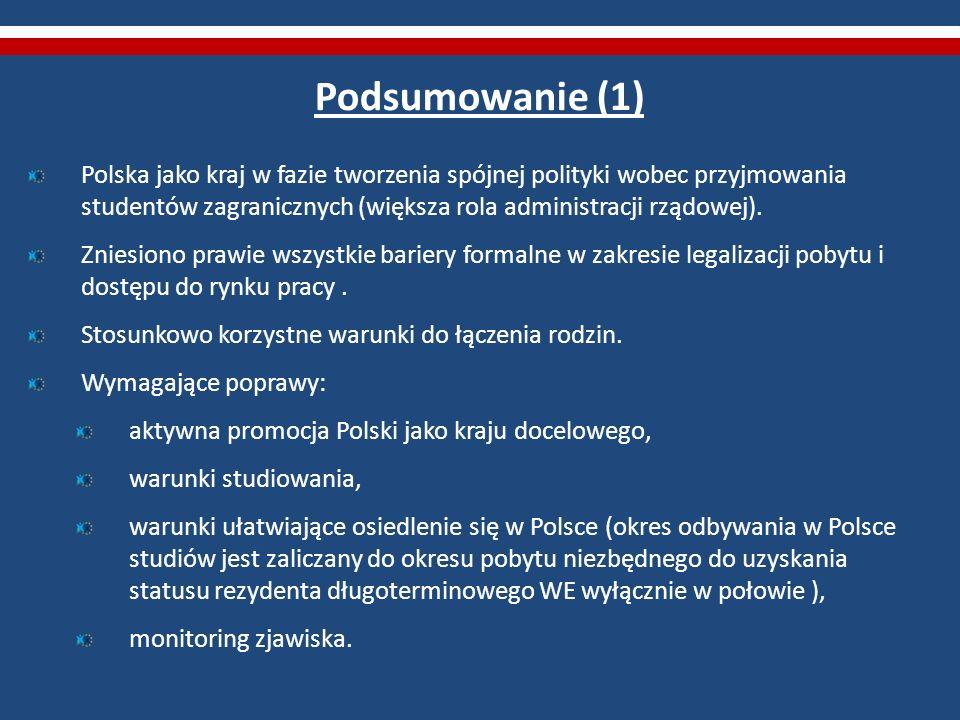 Podsumowanie (1) Polska jako kraj w fazie tworzenia spójnej polityki wobec przyjmowania studentów zagranicznych (większa rola administracji rządowej).