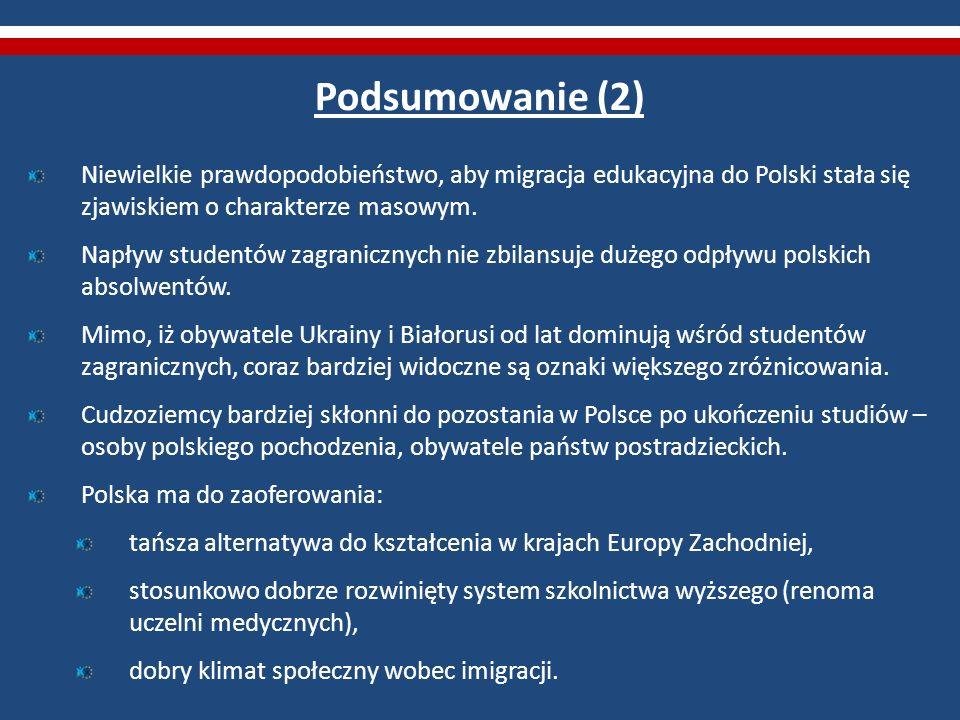 Podsumowanie (2) Niewielkie prawdopodobieństwo, aby migracja edukacyjna do Polski stała się zjawiskiem o charakterze masowym. Napływ studentów zagrani