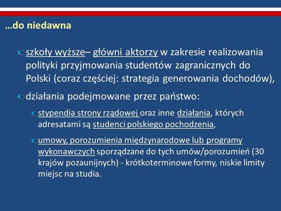 …do niedawna szkoły wyższe– główni aktorzy w zakresie realizowania polityki przyjmowania studentów zagranicznych do Polski (coraz częściej: strategia