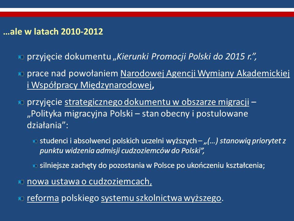 …ale w latach 2010-2012 przyjęcie dokumentu Kierunki Promocji Polski do 2015 r., prace nad powołaniem Narodowej Agencji Wymiany Akademickiej i Współpr