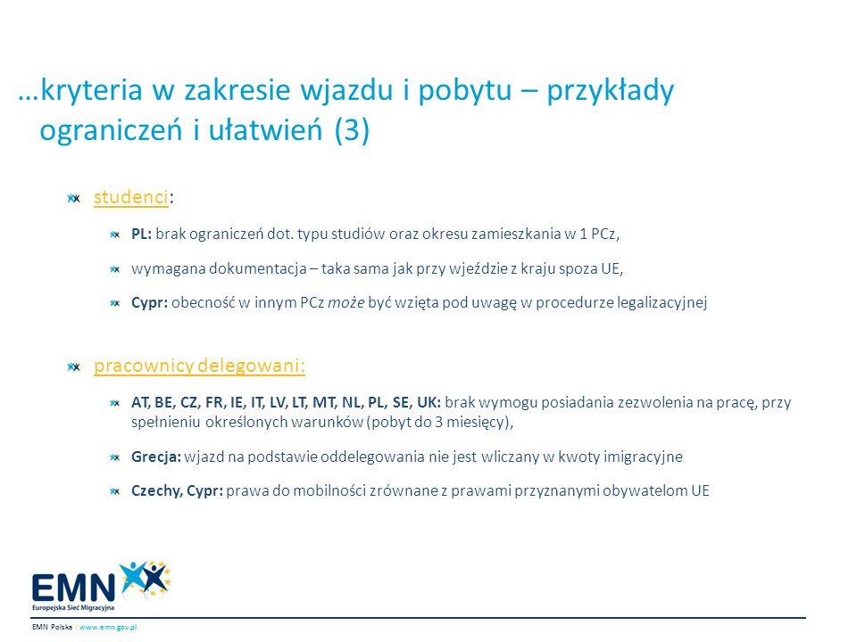 …kryteria w zakresie wjazdu i pobytu – przykłady ograniczeń i ułatwień (3) EMN Polska I www.emn.gov.pl studenci: PL: brak ograniczeń dot. typu studiów