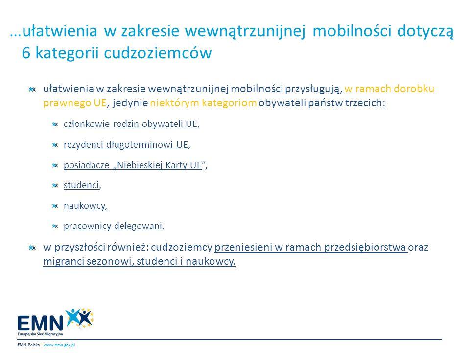 …ułatwienia w zakresie wewnątrzunijnej mobilności dotyczą 6 kategorii cudzoziemców ułatwienia w zakresie wewnątrzunijnej mobilności przysługują, w ram