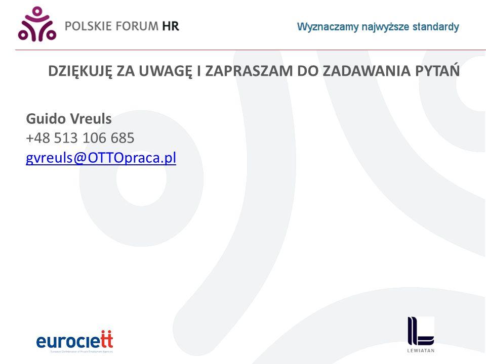 DZIĘKUJĘ ZA UWAGĘ I ZAPRASZAM DO ZADAWANIA PYTAŃ Guido Vreuls +48 513 106 685 gvreuls@OTTOpraca.pl