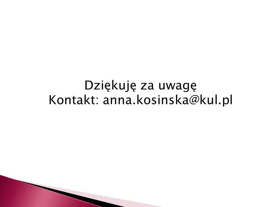 Dziękuję za uwagę Kontakt: anna.kosinska@kul.pl