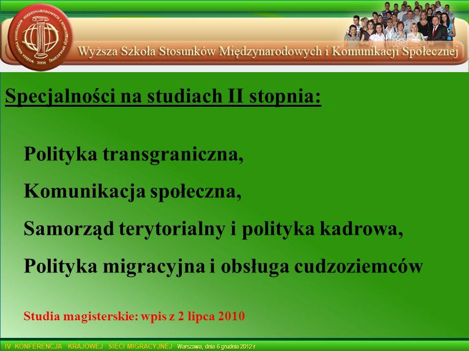 Specjalności na studiach II stopnia: Polityka transgraniczna, Komunikacja społeczna, Samorząd terytorialny i polityka kadrowa, Polityka migracyjna i o
