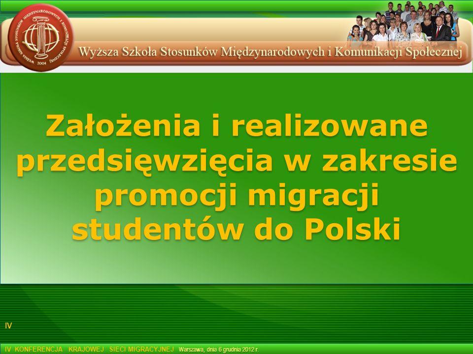 Założenia i realizowane przedsięwzięcia w zakresie promocji migracji studentów do Polski Warszawa, dnia 6 grudnia 2012 r. IV KONFERENCJA KRAJOWEJ SIEC