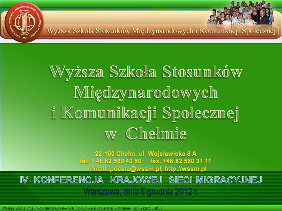 Wyższa Szkoła Stosunków Międzynarodowych i Komunikacji Społecznej w Chełmie - dr Ryszard SUDUŁ