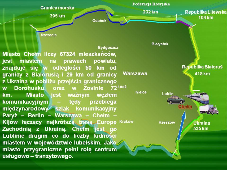 Warszawa Kraków Rzeszów Gdańsk Szczecin Granica morska 395 km Federacja Rosyjska 232 km Republika Litewska 104 km Republika Białoruś 418 km Ukraina 53