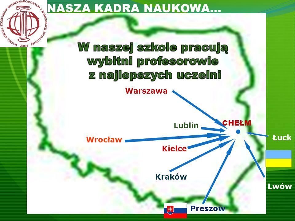 CHEŁM Lublin Kielce Kraków Warszawa Preszow Lwów Łuck NASZA KADRA NAUKOWA… Wrocław