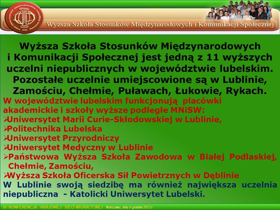 Wyższa Szkoła Stosunków Międzynarodowych i Komunikacji Społecznej jest jedną z 11 wyższych uczelni niepublicznych w województwie lubelskim. Pozostałe