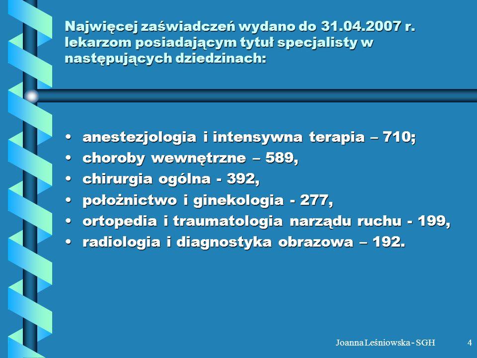Joanna Leśniowska - SGH4 Najwięcej zaświadczeń wydano do 31.04.2007 r. lekarzom posiadającym tytuł specjalisty w następujących dziedzinach: anestezjol