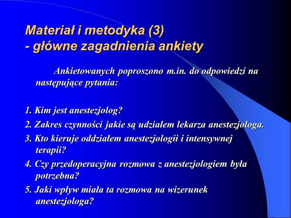 Materiał i metodyka (3) - główne zagadnienia ankiety Ankietowanych poproszono m.in. do odpowiedzi na następujące pytania: 1. Kim jest anestezjolog? 2.