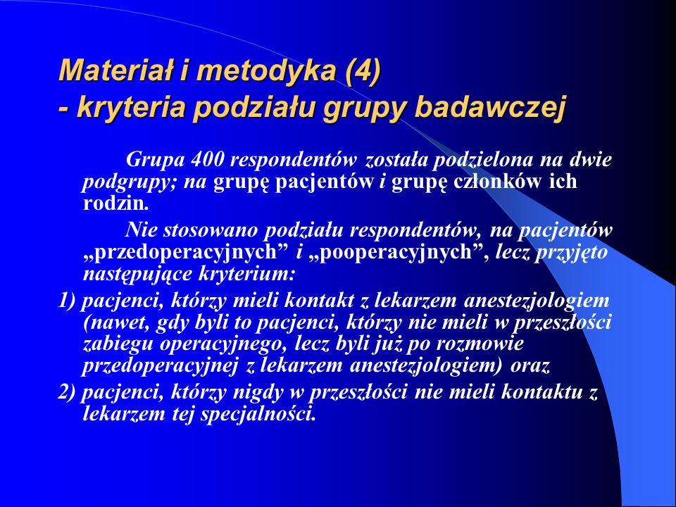 Materiał i metodyka (4) - kryteria podziału grupy badawczej Grupa 400 respondentów została podzielona na dwie podgrupy; na grupę pacjentów i grupę czł