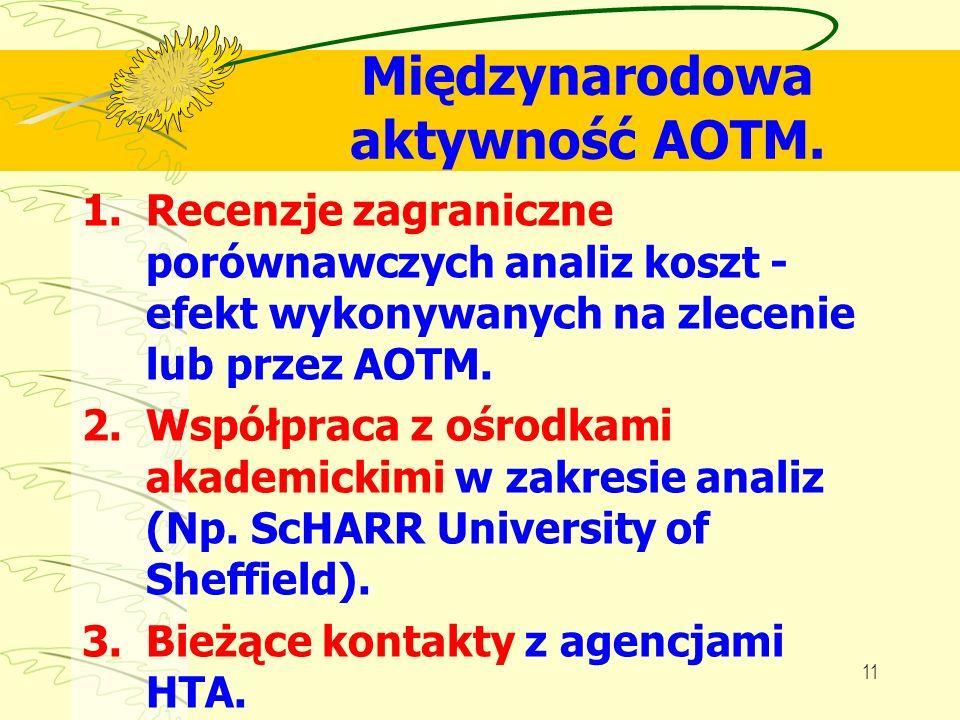 11 Międzynarodowa aktywność AOTM. 1.Recenzje zagraniczne porównawczych analiz koszt - efekt wykonywanych na zlecenie lub przez AOTM. 2.Współpraca z oś