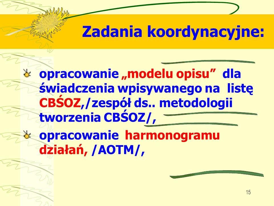 15 Zadania koordynacyjne: opracowanie modelu opisu dla świadczenia wpisywanego na listę CBŚOZ,/zespół ds.. metodologii tworzenia CBŚOZ/, opracowanie h