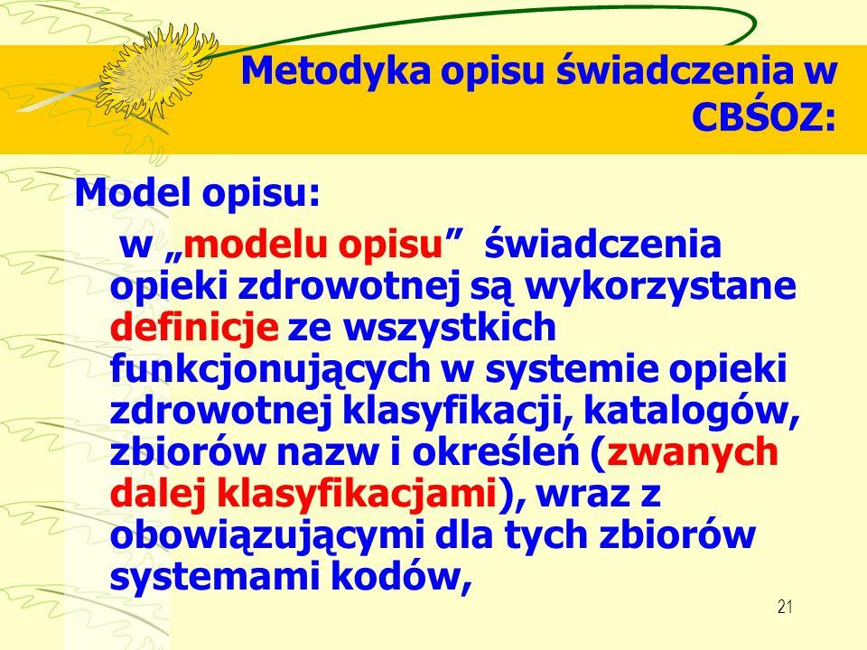21 Metodyka opisu świadczenia w CBŚOZ: Model opisu: w modelu opisu świadczenia opieki zdrowotnej są wykorzystane definicje ze wszystkich funkcjonujący
