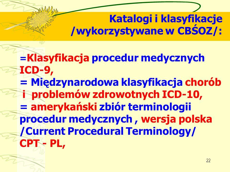 22 Katalogi i klasyfikacje /wykorzystywane w CBŚOZ/: = Klasyfikacja procedur medycznych ICD-9, = Międzynarodowa klasyfikacja chorób i problemów zdrowo