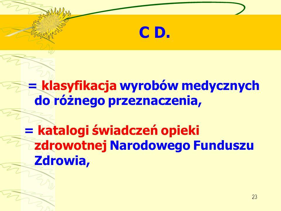 23 C D. = klasyfikacja wyrobów medycznych do różnego przeznaczenia, = katalogi świadczeń opieki zdrowotnej Narodowego Funduszu Zdrowia,