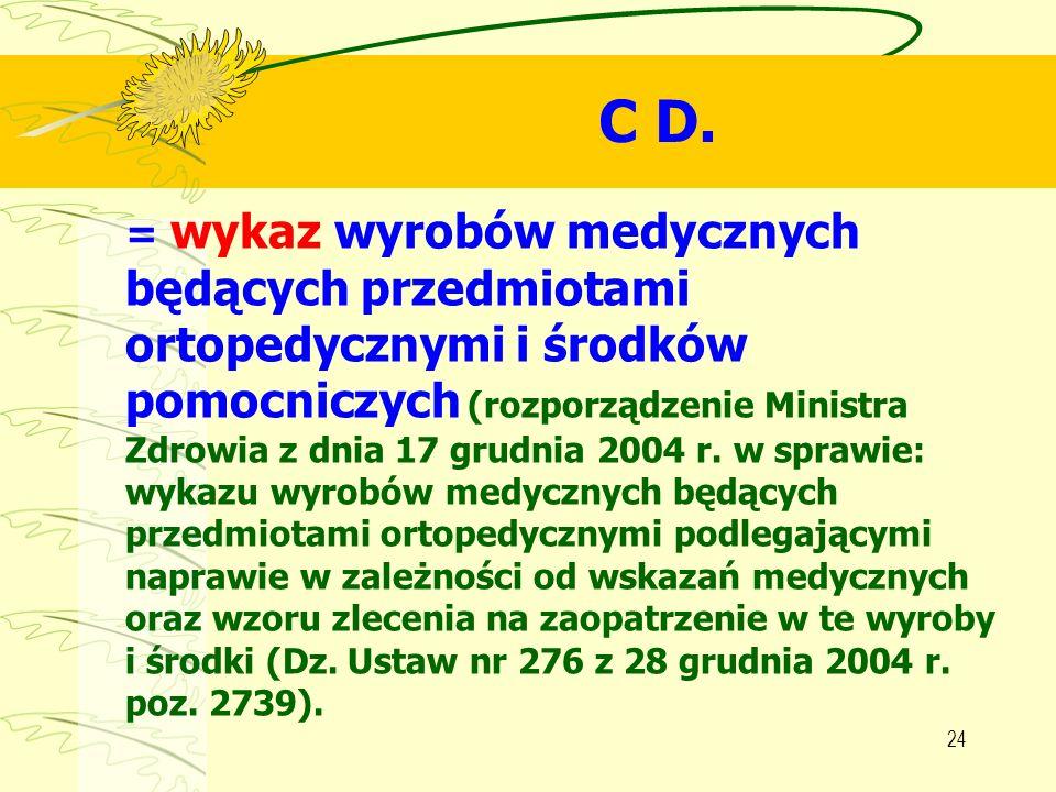 24 C D. = wykaz wyrobów medycznych będących przedmiotami ortopedycznymi i środków pomocniczych (rozporządzenie Ministra Zdrowia z dnia 17 grudnia 2004