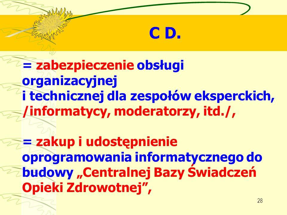 28 C D. = zabezpieczenie obsługi organizacyjnej i technicznej dla zespołów eksperckich, /informatycy, moderatorzy, itd./, = zakup i udostępnienie opro
