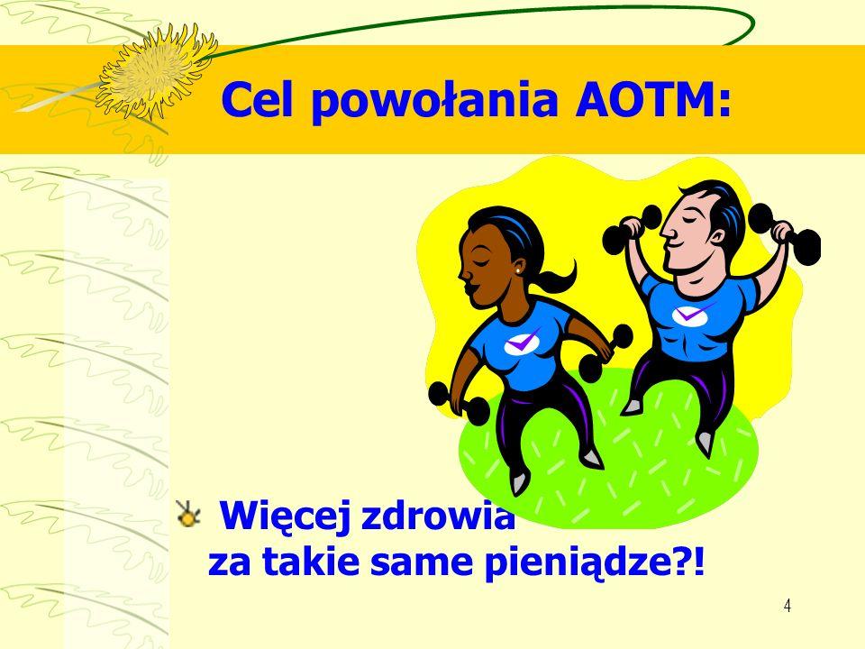 4 Cel powołania AOTM: Więcej zdrowia za takie same pieniądze?!