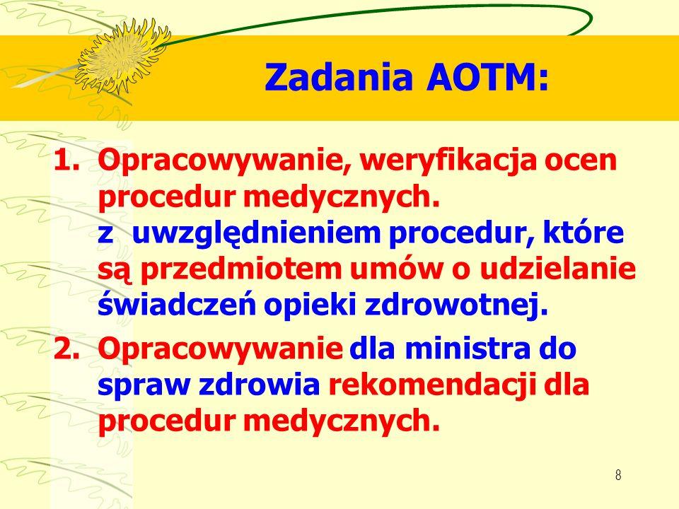 8 Zadania AOTM: 1.Opracowywanie, weryfikacja ocen procedur medycznych. z uwzględnieniem procedur, które są przedmiotem umów o udzielanie świadczeń opi