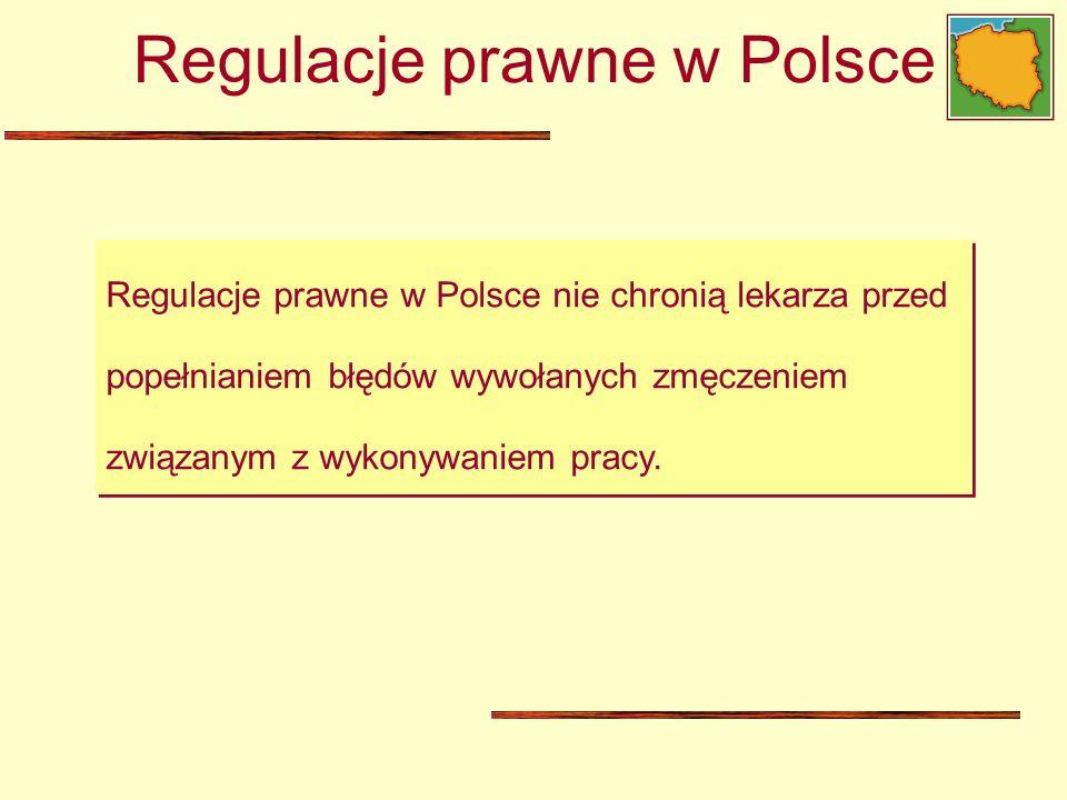 Regulacje prawne w Polsce nie chronią lekarza przed popełnianiem błędów wywołanych zmęczeniem związanym z wykonywaniem pracy. Regulacje prawne w Polsc