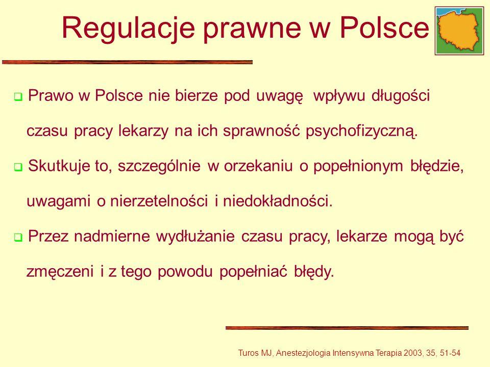 Prawo w Polsce nie bierze pod uwagę wpływu długości czasu pracy lekarzy na ich sprawność psychofizyczną. Skutkuje to, szczególnie w orzekaniu o popełn