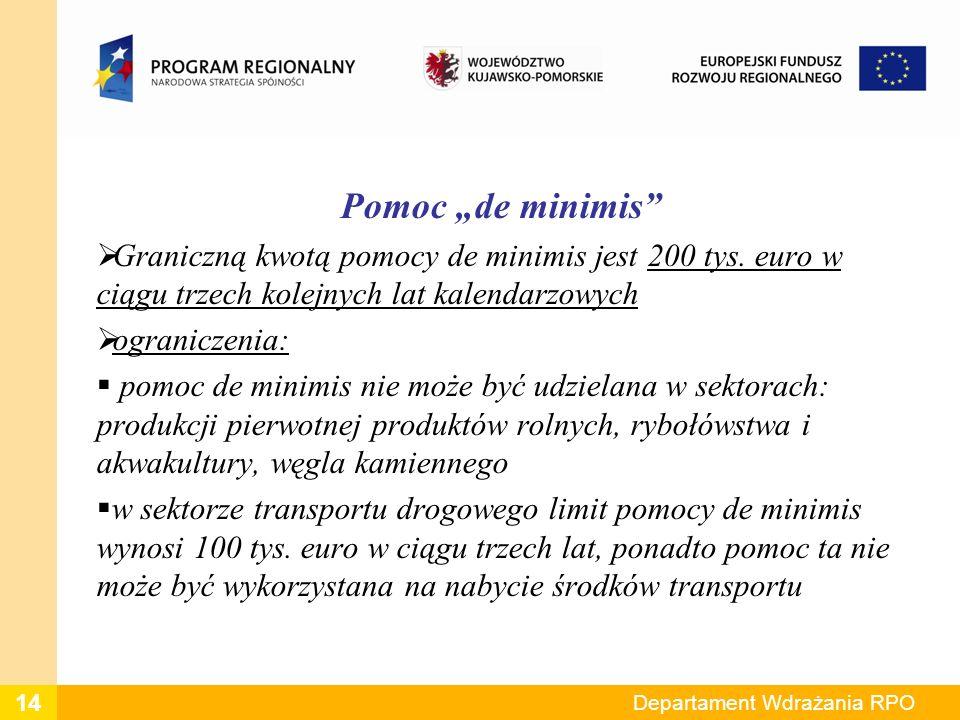 Pomoc de minimis Graniczną kwotą pomocy de minimis jest 200 tys. euro w ciągu trzech kolejnych lat kalendarzowych ograniczenia: pomoc de minimis nie m