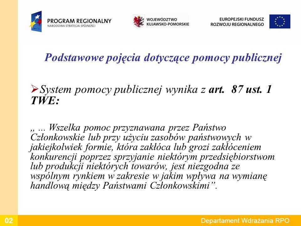 Podstawowe pojęcia dotyczące pomocy publicznej System pomocy publicznej wynika z art. 87 ust. 1 TWE:... Wszelka pomoc przyznawana przez Państwo Członk