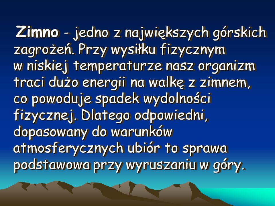 Zimno - jedno z największych górskich zagrożeń. Przy wysiłku fizycznym w niskiej temperaturze nasz organizm traci dużo energii na walkę z zimnem, co p