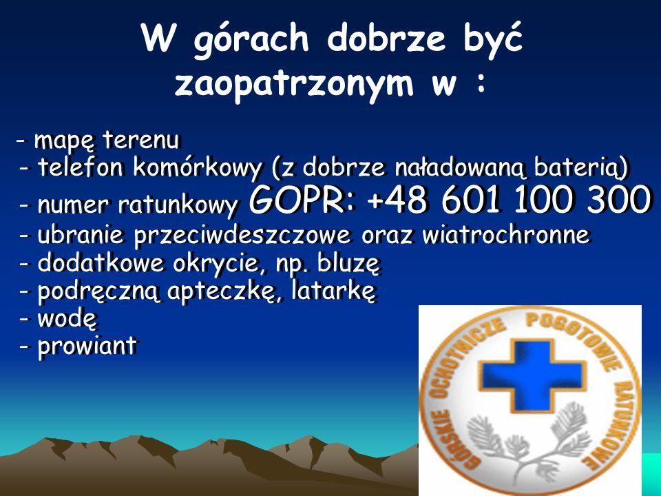 W górach dobrze być zaopatrzonym w : - mapę terenu - telefon komórkowy (z dobrze naładowaną baterią) - numer ratunkowy GOPR: +48 601 100 300 - ubranie