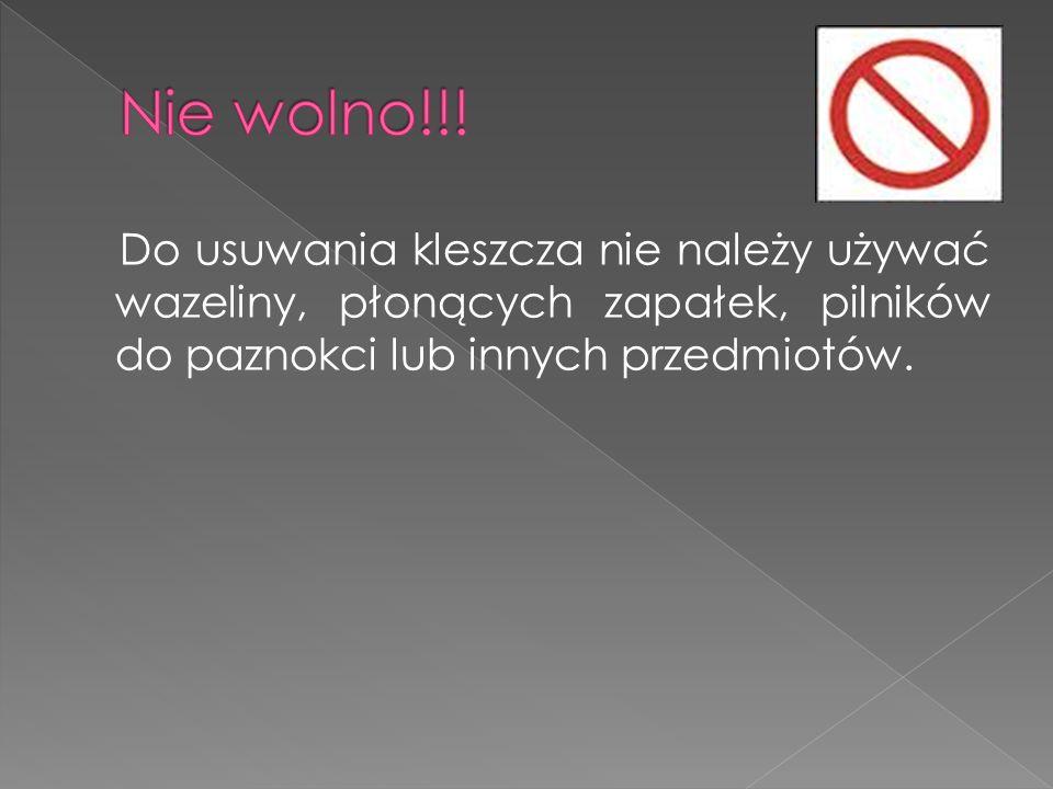 Do usuwania kleszcza nie należy używać wazeliny, płonących zapałek, pilników do paznokci lub innych przedmiotów.