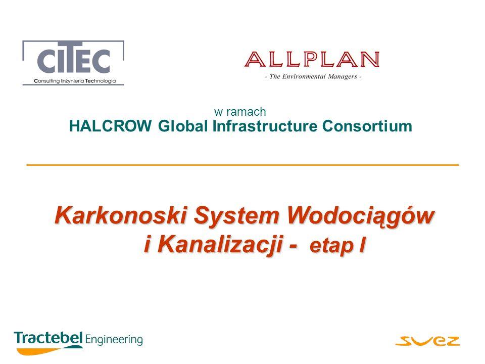 Karkonoski System Wodociągów i Kanalizacji - etap I ALLPLAN pod kierunkiem HALCROW Global Infrastructure Consortium n ZALECENIA: z szybkie opracowanie dokumentów przetargowych i ich uzgodnienie, by ogłaszanie przetargów odbywało się zgodnie z harmonogramem, z natychmiastowe przystąpienie do wyceny majątku wodno-ściekowego w każdej z gmin, z podpisanie odpowiednich umów z gminą Szklarska Poręba i Piechowice, z dążenie do dalszego uproszczenia struktury instytucjonalnej.