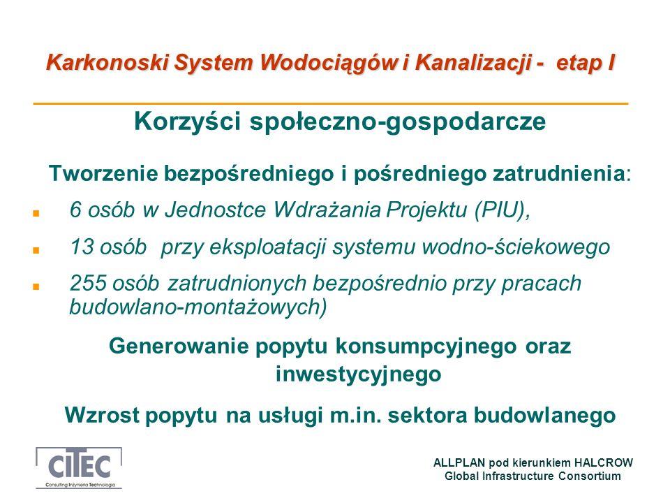 Karkonoski System Wodociągów i Kanalizacji - etap I ALLPLAN pod kierunkiem HALCROW Global Infrastructure Consortium Korzyści społeczno-gospodarcze Two