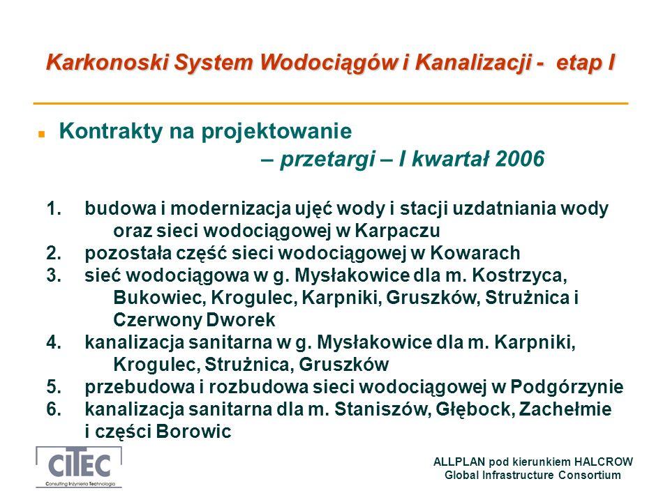 Karkonoski System Wodociągów i Kanalizacji - etap I ALLPLAN pod kierunkiem HALCROW Global Infrastructure Consortium n Kontrakty na projektowanie – prz